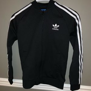 Black Adidas Jacket w/striped sleeves